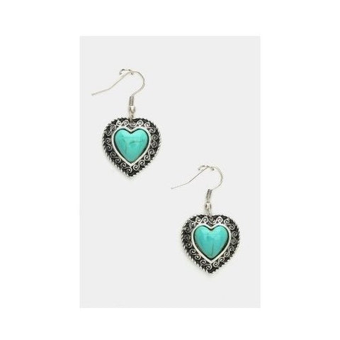 Genuine Turquoise Heart Earrings