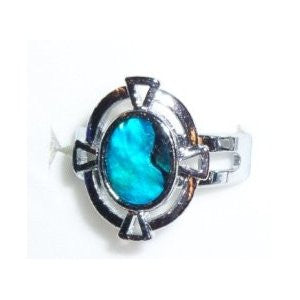 Paua Shell Silver Celtic Ring