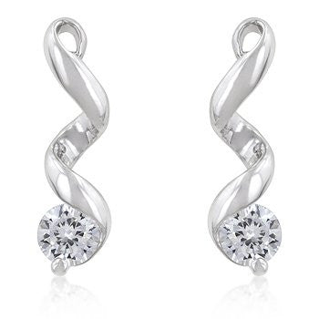 2 (ct) Bonded White Gold Double Twist Solitaire Drop Earrings