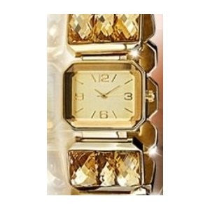 Amber Golden Quartz Jeweled Bracelet Watch