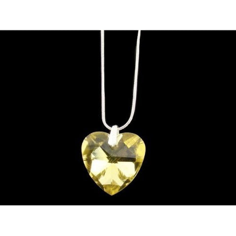 Sterling Silver Canary Golden Crystal Heart Necklace