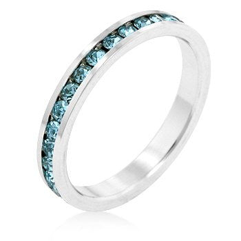 White Gold and Aquamarine Swarovski Crystal Channel