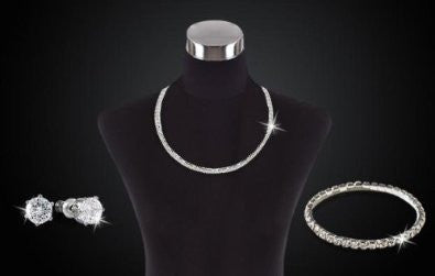 Austrian Crystal Necklace, Bracelet & Earring Set in Sterling Silver Overlay