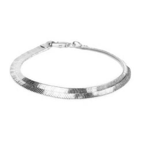 Herringbone 8 inch Bracelet - Rhodium (Platinum) Finish