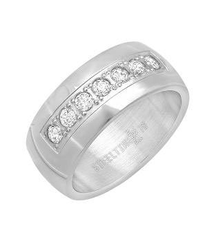 Classic CZ Stainless Steel Band Ring