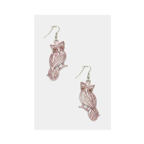 Crystal Eyed Owl Earrings