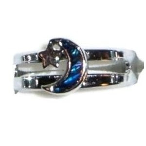 Paua Shell Silver Crescent Moon & Star Ring