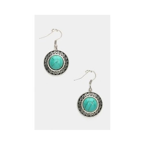 Genuine Turquoise Round Earrings
