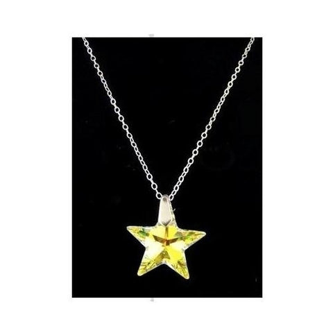 Golden Star Swarovski Sterling Silver Necklace