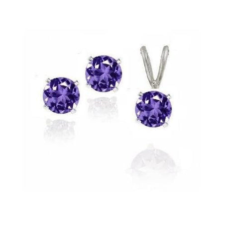 .925 Pure Sterling Silver Amethyst Earring & Necklace Set