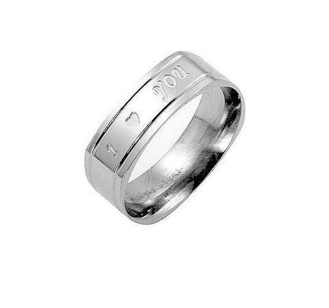 "Men's Stainless Steel & White Gold ""I LoveYou"" Engraved Ring"