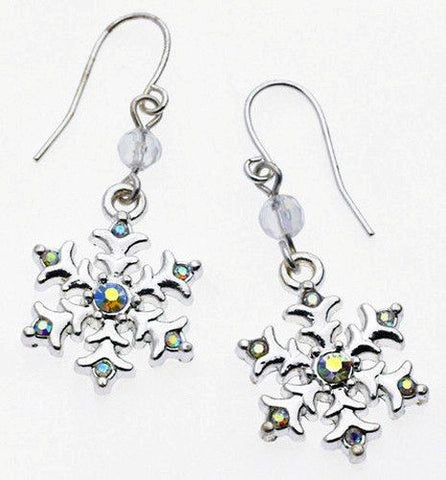 Austrian Crystal Snowflake Dangle Earrings