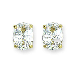 Gold Oval CZ Stud Earrings