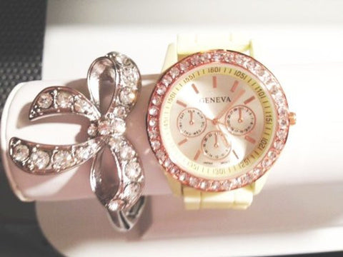 Ribbons & Bows Stacking Watch Set with Crystal Bracelet