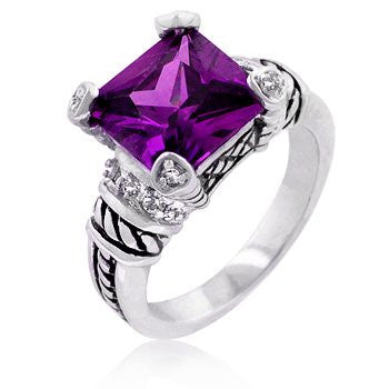Baroque Princess Cut Amethyst CZ Ring in White Gold