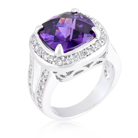 White Gold Bonded Amethyst Cushion-Cut Ring
