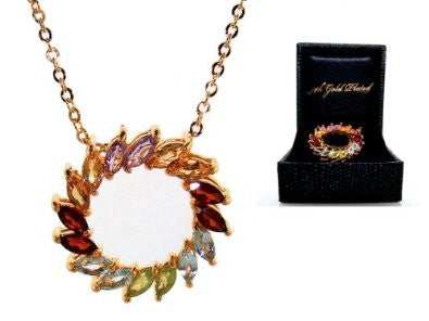 Autumn Wreath Necklace Marquis-Cut