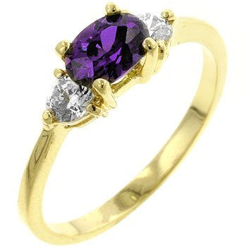 14k Gold Triplet Ring with Amethyst CZ