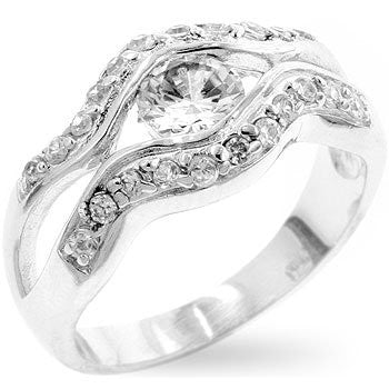 Empress Ring in White Gold over .925 Sterling Silver