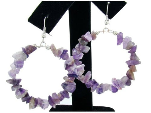 Genuine Semi-Precious Hoop Earrings in Amethyst