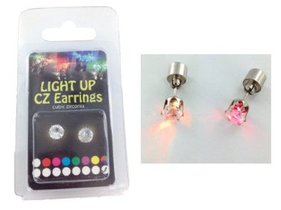 Lite-Up 2 Carat CZ Stud Earing Pair, Multi-Color in Heart-Shaped Gift Box