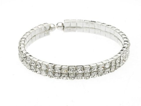 Swarovski Clasp Bracelet in Sterling Overlay - (Double Row)