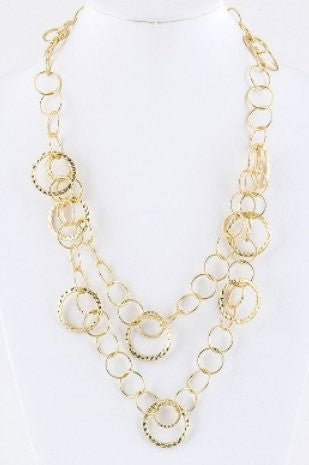 Layered Circle Chain Necklace 24""