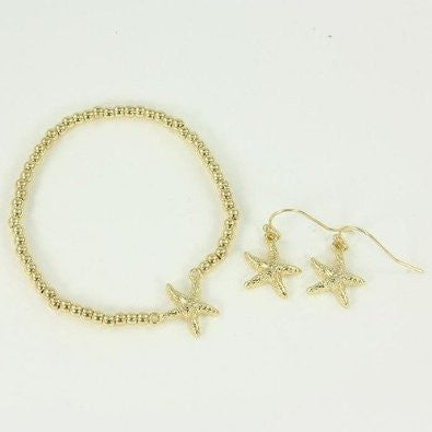 Children's Starfish Bracelet and Earring Matching Set
