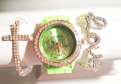 Spring Fling Stacking Watch Set with Crystal Bracelets