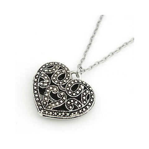 Art Deco / Vintage Style Silver Heart Pendant Necklace