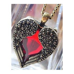 Art Deco Vintage Heart Wing Necklace