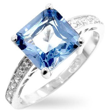 Princess Cut Blue Topaz CZ in White Gold over .925 Sterling Silver