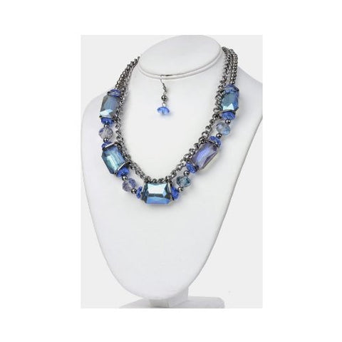 Blue Glass Bead & Chain Statement Necklace and Earring Set