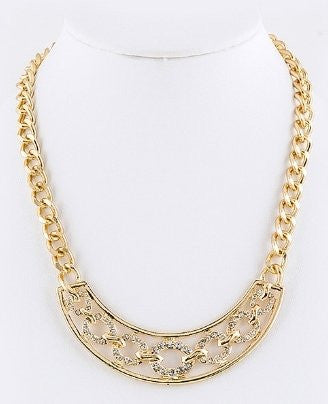Crystal Circle & Chain Statement Necklace