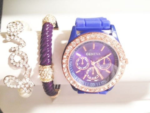 City Nights Stacking Watch Set with Crystal Bracelets