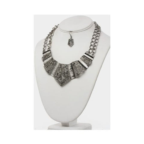 Genuine Hematite Metal Plate Statement Necklace & Earring Set