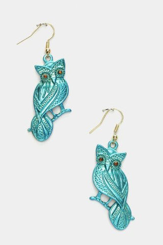 Crystal Eyed Teal Owl Earrings