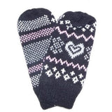 Lined Winter Mittens Sparkle Hearts & Snowflakes