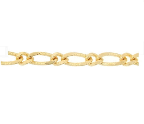 Etched Figaro Chain Gold Necklace