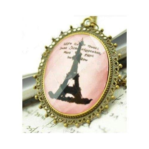 Vintage Rose Paris Eiffel Tower Necklace
