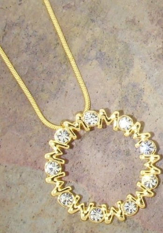 Forever Mom Swarovski Crystal Necklace in 14k Gold