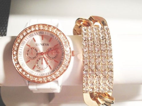 The Alicia Stacking Watch Set with Crystal Bracelet