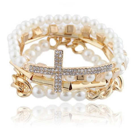 Stacked Side-Cross & Pearl Bracelet