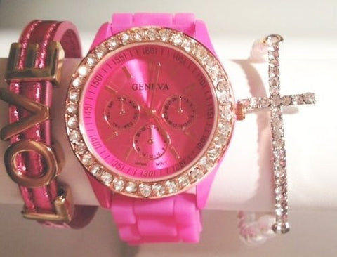Cotton Candy Stacking Watch Set with Bracelets