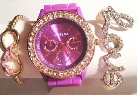 Copy of Lavender Love & Kisses Stacking Watch Set with Crystal Bracelets