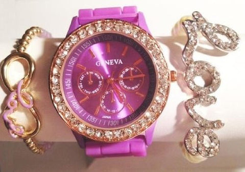 Lavender Love & Kisses Stacking Watch Set with Crystal Bracelets