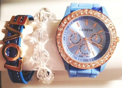 Crystal Blue Persuasion Stacking Watch Set with Crystal Bracelet