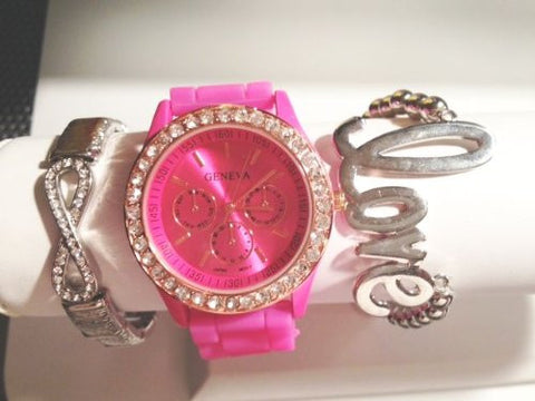 Pink Crush Stacking Watch Set with Crystal Infinity Bracelet