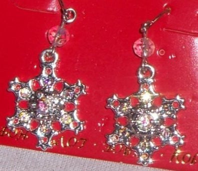 Austrian Crystal Aurora Snowflake Earrings