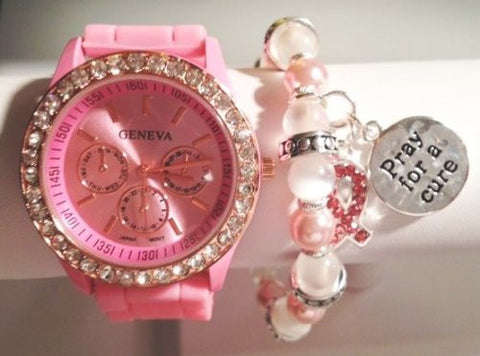 Breast Cancer Awareness - The Hope Stacking Watch Set with Crystal Bracelets